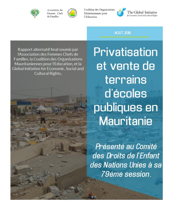 Photo couverture Rapport sur les « menaces » de la privatisation de l'éducation en Mauritanie